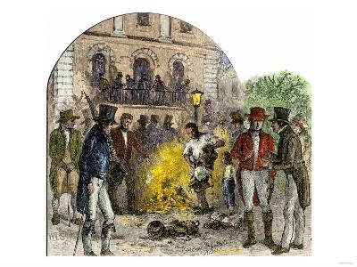 Pro-Slavery Bonfire of Abolitionist Literature in Charleston, South Carolina, 1830s
