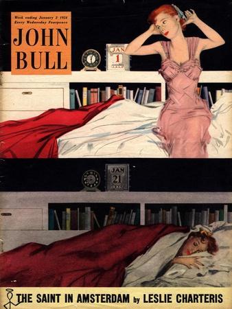 John Bull, Sleep Sleeping Beds Bedrooms Alarm Clocks New Years Resolutions Magazine, UK, 1954