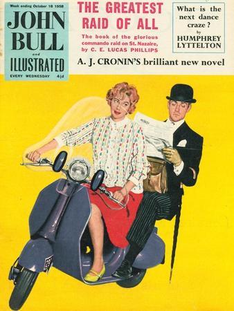 John Bull, Scooters City Gents Bowler Hats Commuters Magazine, UK, 1958