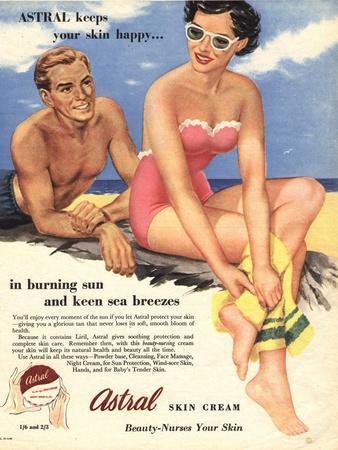 Sun Creams Lotions Tan Tanning Sunburn Astral Suntans Sunbathing, UK, 1950