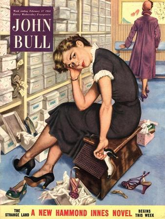 John Bull, Tired Fed-Up Stress Exhausted Sales Assistants Shoes Sales Shopping Magazine, UK, 1954