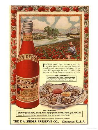 Tomato Sauce Catsup Sniders Oysters Tomatoes, USA, 1900