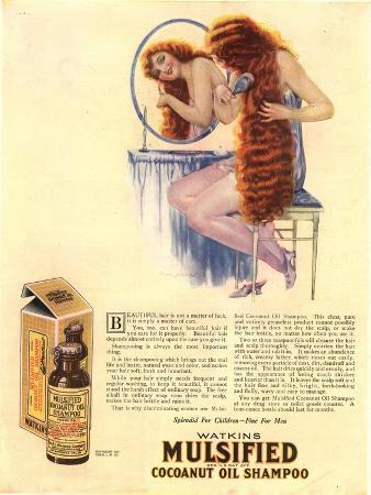 Brushing Mulsified Shampoo Cocoa Nuts Oil Hair, USA, 1921
