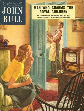 John Bull, Watching Televisions Washing the Dishes Washing-Up Up Magazine, UK, 1950