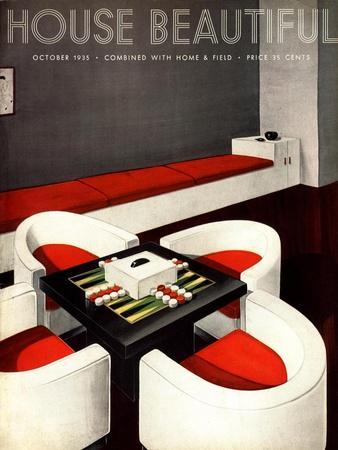 House Beautiful, Furniture Backgammon Board Games Magazine, USA, 1930
