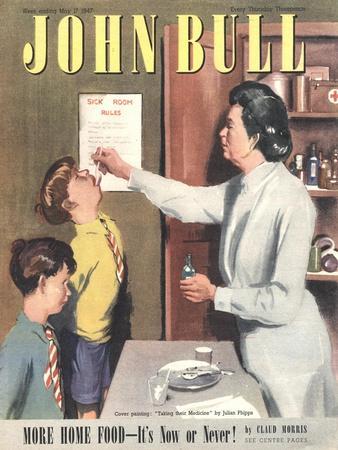 John Bull, Taking Giving Medicine Schools Nurses Matrons Magazine, UK, 1947