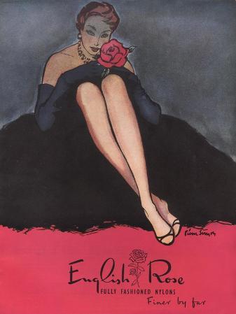 Womens Stockings Nylons Hosiery English Rose Roses, UK, 1953