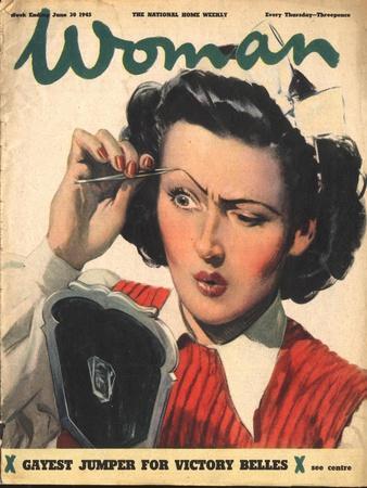 Woman Plucking Eyebrows Tweezers Magazine, UK, 1945