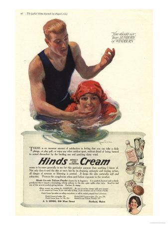 Suntans Sun Hinds Sunburn Swimming Skin Care Swimming Sea Sun Creams Skincare, USA, 1917