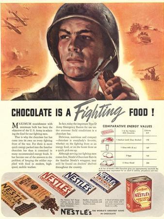 Nestle's, Propaganda Chocolate Sweets WWII Chocolate Is a Fighting Food, USA, 1940
