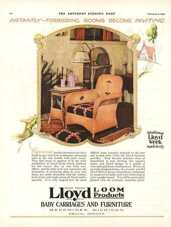 Lloyd Loom Furniture Interiors, USA, 1929