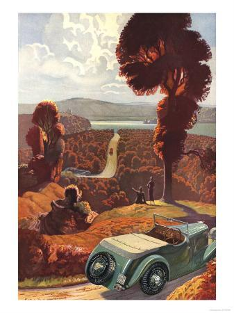 Dunlop, The Open Road Great Outdoors Countryside Open Top Tyres Cars, UK, 1935