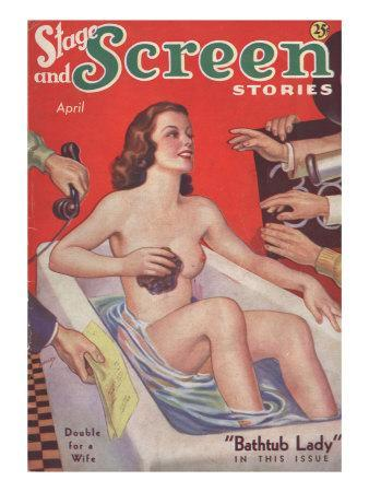 Stage & Screen Stories, Glamour Baths Woman in the Bath Pulp Fiction Magazine, USA, 1930