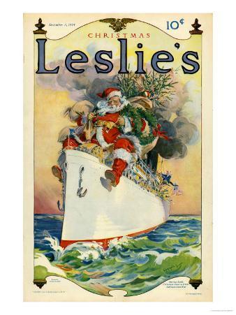 Leslie's, Father Christmas Santa Claus Ships Cruises Magazine, USA, 1914