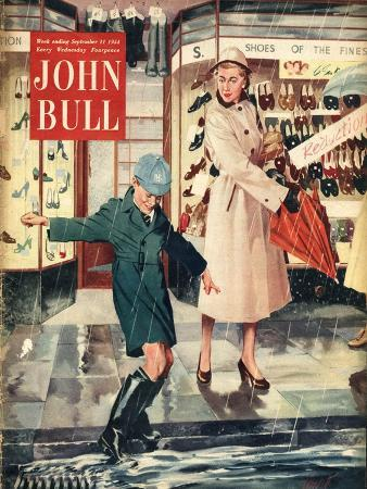 John Bull, Mothers and Sons Shopping in Wet Weather Magazine, UK, 1954