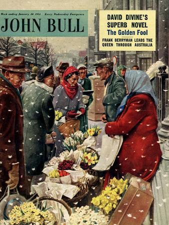John Bull, Flowers Stalls Snowing Shopping Markets Winter Cold Weather Magazine, UK, 1954