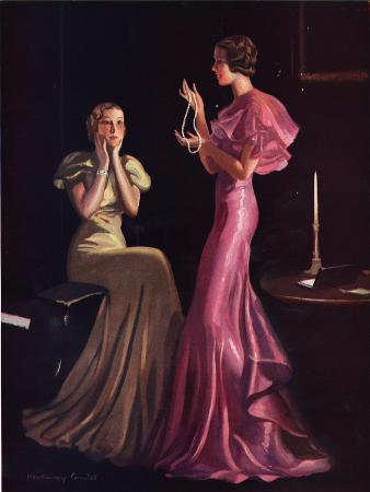 Womens Evening Gowns Dresses Pearls Jewellery Glamour Clothing Clothes, UK, 1930