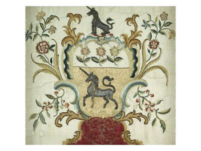 Fine and Important Silk-On-Silk Embroidered Coat-Of-Arms. Philadelphia, 1765