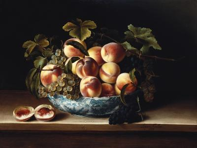 Peaches and Grapes in a Blue and White Chinese Porcelain Bowl Fruit Still Life, 1634
