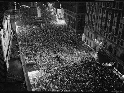 Night View of People Jammed into Times Square Celebrating the End of the War in Europe