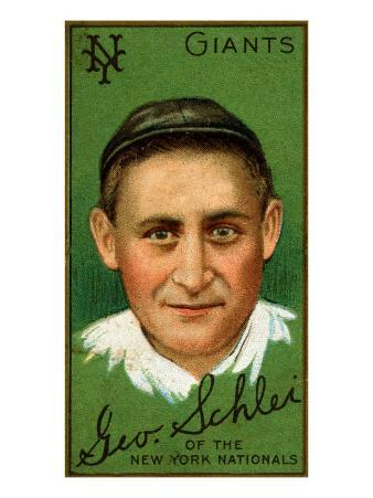 New York City, NY, New York Giants, George H. Schlei, Baseball Card