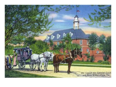 Exterior View of the Old Capitol Building with a Horse-Drawn Coach, Williamsburg, Virginia