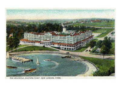 New London, Connecticut, Aerial View of the Eastern Point of the Griswold Hotel