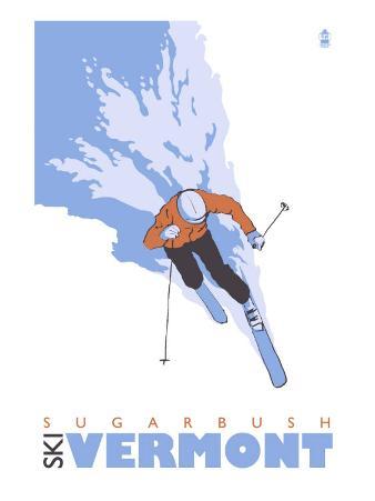Sugarbush, Vermont, Stylized Skier