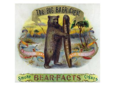 The Big Baer Cigar, Bear-Facts Brand Cigar Inner Box Label, Misspelling