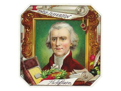 Thomas Jefferson Brand Cigar Outer Box Label