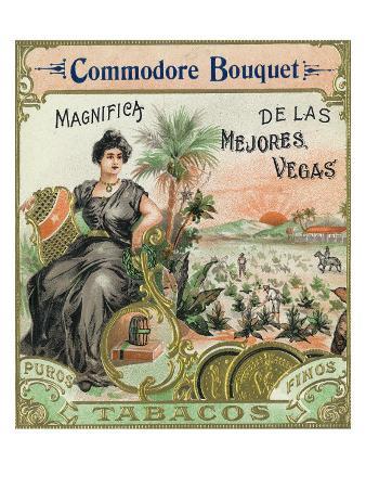 Commodore Bouquet Brand Cigar Box Label