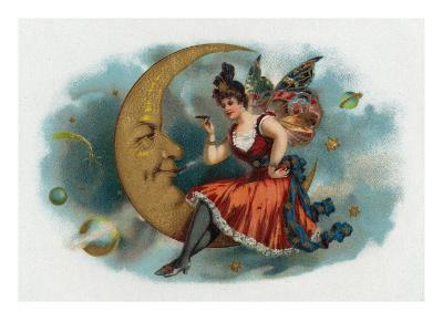 Picant Brand Cigar Box Label, Fairy Woman Smoking on the Moon