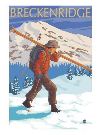 Breckenridge, Colorado, Skier Carrying Skis