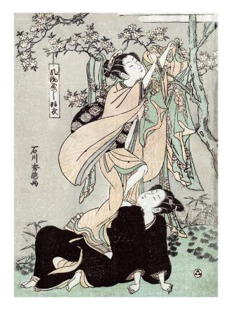 Woman Stands on another Woman to Habng a Kimono, Japanese Wood-Cut Print