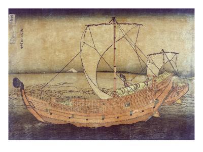 Sailing off of Kazusa, Japanese Wood-Cut Print