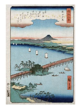 Long Bridge and Boats on a River, Japanese Wood-Cut Print