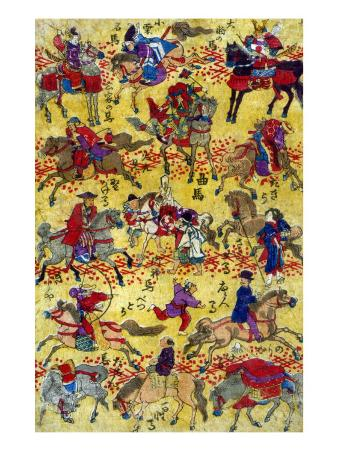Melange of Horse-riders, Japanese Wood-Cut Print