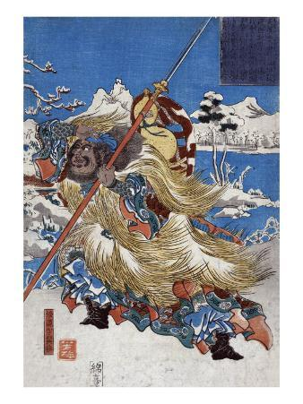 Chinese Three Kingdoms warrior Zhang Fei, Japanese Wood-Cut Print
