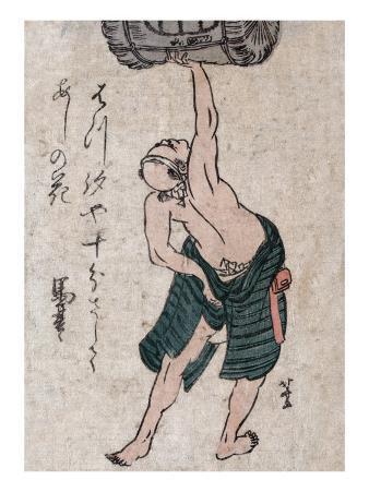 Man Lifting a Sake Barrel, Japanese Wood-Cut Print