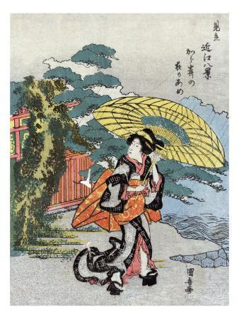 Evening Rain at Karasaki, Japanese Wood-Cut Print