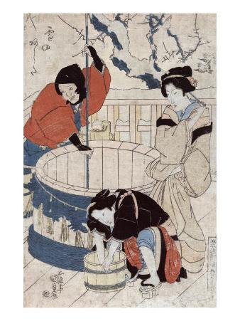 Women Getting Water at the Well, Japanese Wood-Cut Print