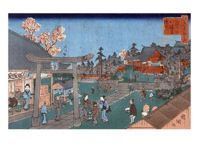 Inside Fukagawa Hachiman Shrine, Japanese Wood-Cut Print