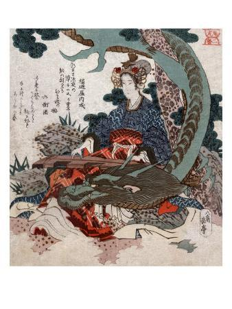 Woman Playing a Koto with a Dragon Curled around Her, Japanese Wood-Cut Print