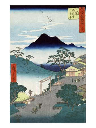 Rural Village with Mountains in the Background, Japanese Wood-Cut Print