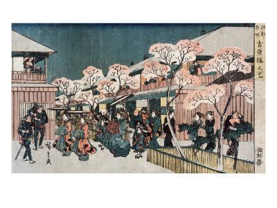 Cherry Blossoms of Yoshiwara, Japanese Wood-Cut Print