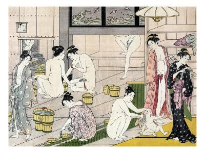 Bathhouse Women, Japanese Wood-Cut Print