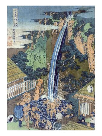 Roben Waterfall at Oyama in Soshu, Japanese Wood-Cut Print
