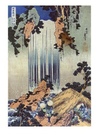 Yoro Waterfall in Mino, Japanese Wood-Cut Print
