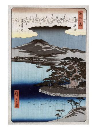 Evening Rain at Karasaki, no.1, Japanese Wood-Cut Print