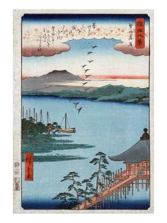 Descending Geese at Katada, Japanese Wood-Cut Print
